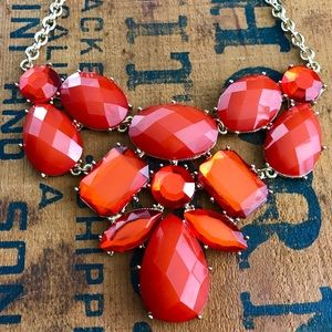 Large Cherry Red Crystal Necklace